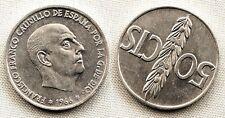Variante-Estado Español 50 centimos 1966*19-68. EBC+/XF+ Girada segun foto. Rara