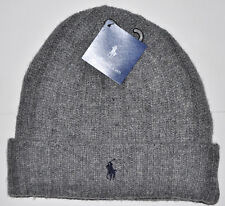 NWT RALPH LAUREN POLO MEN'S WINTER WARM DESIGNER HAT WOOL BEANIE BOY SKULL GREY