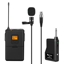 Fifine 25-Channel UHF Wireless Lavalier Lapel Microphone System with Bodypack...