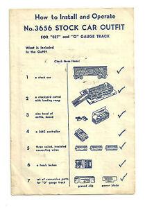 VTG 1953 Lionel 3656 Stock Car Outfit Instructions Sheet Form 3656-43-1-53-TT