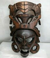 Tribal Mask African Wood Carved Wall Decor Hanging Vintage