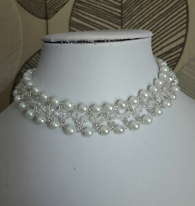 """Pearl & bicone Beaded CHOKER necklace VINTAGE style WHITE glass 13"""""""