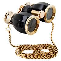 HQRP 4x30 Opera Glasses Binoculars Black Gold Necklace Chain Crystal Clear Optic
