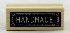 Handmade Wood Mounted Rubber Stamp Inkadinkado NEW gift tag label craft art bold