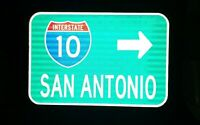 SAN ANTONIO Interstate 10 route road sign - Texas, TX DOT, SPURS,