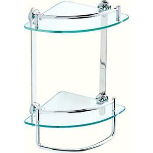Delta Corner Shelf Glass Double Towel Bar Storage Polished Chrome 8 in FSS16-PC