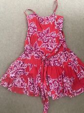 Ladies Pink Floral Summer Strappy Strapless Dress Size 10
