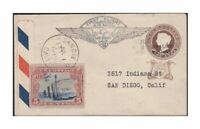 1888 Gwalior India Postal Stationery on 1930 US First Flight Cover w/ US Sc c11