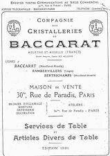 Cristal Baccarat Catalogue de la cristallerie Spécial service Malmaison 1921 PDF