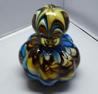 Colourful glass marble perfume bottle, 5 inches tall. Some minor damage.