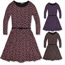 Girls Skater Dress Kids Party New Floral Long Sleeve Black Pink Blue White 7-13Y