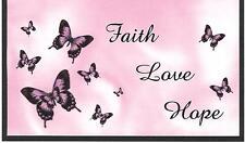 CHECKBOOK COVER PINK BUTTERFLIES & PINK & BLUE FAITH, LOVE , HOPE