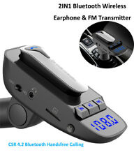 2IN1 Bluetooth Wireless Headsets+USB Car Charger FM transmitter for iPhone 8 X 7