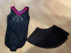 Mädchen Ballettbody Ärmellos Gymnastik Body Decathlon mit Rüschenrock Turnanzug