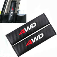 x2 4WD Logo Seat Belt Covers Carbon Fibre Soft Cushion Pads For 4x4 4wd