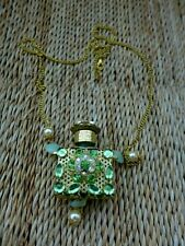 Perfume small glass green bottle with chain, beautiful design collector, no.41