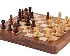 7 inch Magnetic Sheesham & Boxwood MINI INLAID Chess Set travel chess portable