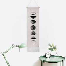 Beige Wall Tapestry Art Moon Phase Lunar Style Wall Hanging Display Home Decor