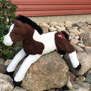 "Dandee Giant 2016 Horse Plush Pinto Stuffed Animal Huge 40"" Brown White Jumbo"