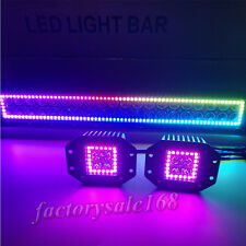"120W 22"" LED Light Bar RGB Halo Chasing + 2x Flush mount Halo Pods For Jeep SUV"