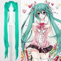 New Vocaloid Hatsune Miku 2 Ponytails Party Cosplay Wig Show Halloween Anime