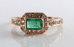 CLASS 9K 9CT ROSE GOLD COLOMBIAN EMERALD & DIAMOND ART DECO INS RING FREE RSIZE