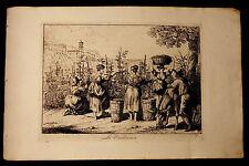 BARTOLOMEO PINELLI: La Vendemmia.Tav.3.Costumi di Roma.1816.Acquaforte.Cm 42x27