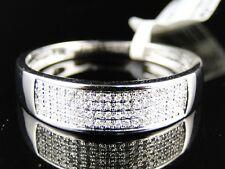 New 10K Mens White Gold Round Diamond Pave Wedding Band Fashion Ring 1/4 Ct