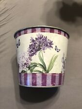 Purple Flower Plant Vase/Tin Pot