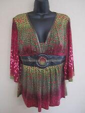 NWT Bisou Bisou Ladies Top Split Sleeve Trendy Stylish flowy V Neck size Large