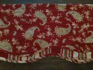 2 Waverly Prelude Paisley Crimson Red Floral Stripe Scalloped Fairfield Valance