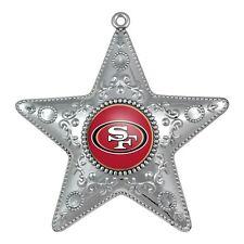 San Francisco 49ers NFL Football Silver Star Holiday Christmas Tree Ornament
