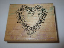"""Ivy Heart Wreath Rubber Stamp D.O.T.S. Leaves Leaf Wood Mounted Love Garden 3"""""""