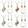 Women Crystal Rhinestone Drop Dangle Earrings Necklace Chain Pendant Jewelry Set