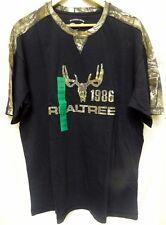 Realtree Buckhorn River T-shirt 1986 Black w/ Camo Shoulder Stripes Size Medium