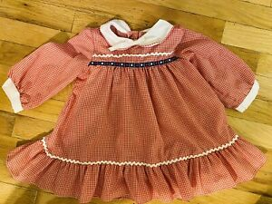Vintage 1970's Girls Dress Size 3T Made in USA red check