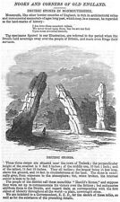 Druidic Standing Stones in Monmouthshire - Antique Print 1846