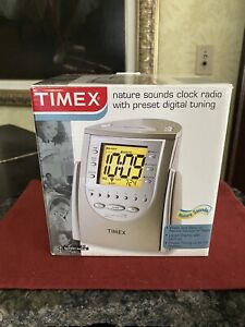 Timex T309T Nature Sounds AM/FM Radio Alarm Clock 6 Presets Wake Sleep Buzzer