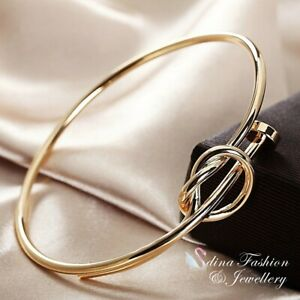 18K Yellow Gold Filled Ladies Unique Designed Stylish Knot Bangle