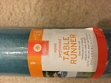 Aqua Perforated Table Runner One Time Use