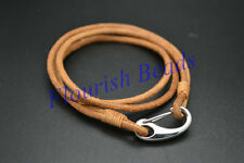 Matte Real Leather Brown Color Cord Clasp Muti Rows Bracelet Fashion Jewelry