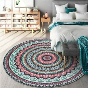 Round Carpet Mandala Flower Printed Carpets for Living Room Rug Chair Floor Mat