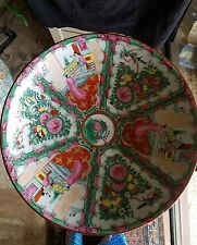 "Antique Chinese Rose Medallion Familie 14.5"" bowl platter gilding mint"