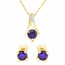 Valentine Day 2.25 Ct Round Purple Amethyst Silver Pendant and Earrings Chain