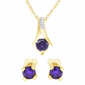 2.25 Ct Round Purple Amethyst Silver Pendant and Earrings Chain