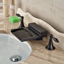 Oil Rubbed Bronze Widespread Bathroom Tub Faucet Waterfall Spout Sink Mixer Tap