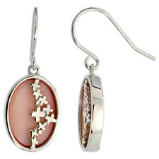 Sterling Silver Dangle Earrings w/ Oval-shaped Pink Mother of Pearl