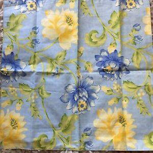 "April Cornell Yellow Blue Floral French Provencal Cotton Napkin Set Of 4 18"" Sq."