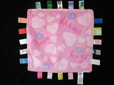 """Taggies Baby Lovey Security Blanket Pink Hearts Hugs Love Kisses 12"""" FREE SHIP"""