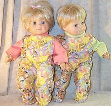 """Doll Clothes Baby Girl fits 15"""" inch Twins 2 Pcs Footed Pajamas Bitty 123 Bears"""